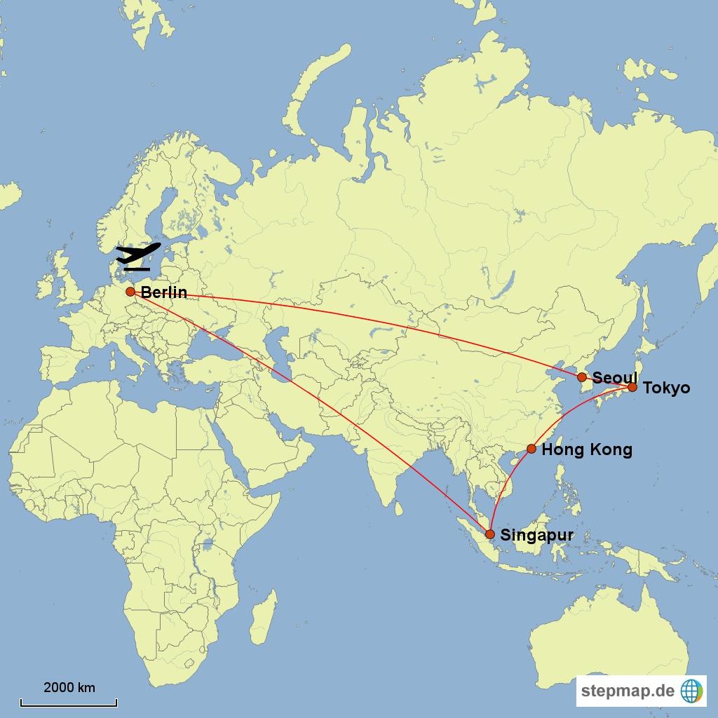 Mögliche Reiseroute für meine Asienreise
